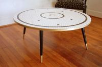 Mid Century Modern Circle Mosaic Tile Top Coffee Table ...