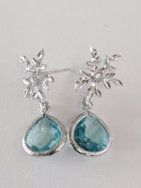 Elsa Luxe Earrings: Silver Snowflake / Branch Posts with ...