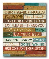 'Our Family Rules' Canvas Wall Art