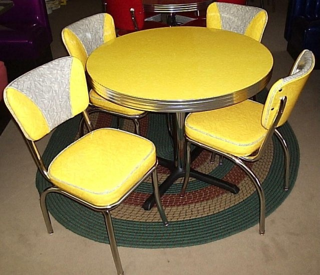 Sunny Yellow  Old Time Formica Kitchen  Chairs50s