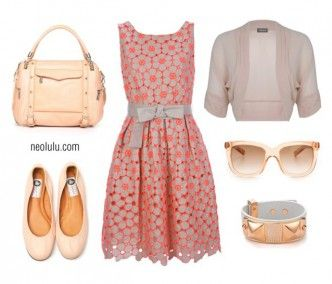 Eye Candy Peachy Coral Dress Summer Outfit Idea http://neolulu.com/