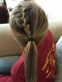 braiding into pomytail braid into a ponytail hair pinterest