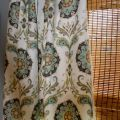 Turquoise yellow grey brown and white medallion curtain panels c