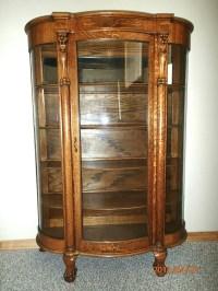 Antique Tiger Oak Bowed Glass Curio China Cabinet c. 1900