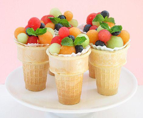 Fruit Salad Ice Cream Cones (by BakersRoyale)