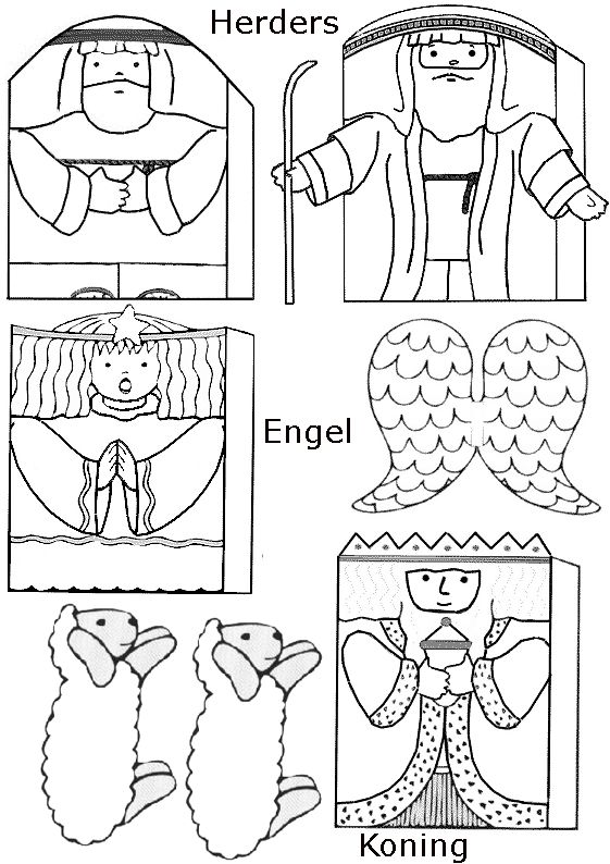 Free coloring pages of family finger puppets
