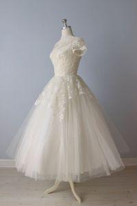 RESERVED Tea Length Wedding Dress / 1950s Wedding Dress ...