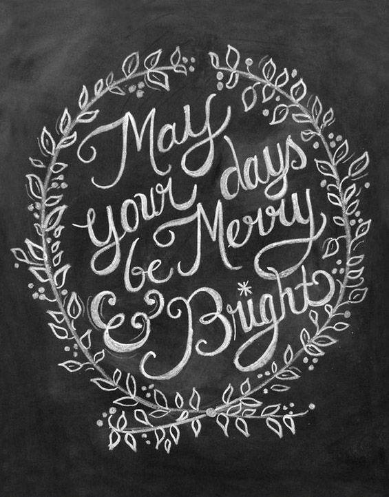 Merry & Bright Christmas Chalkboard Art Print