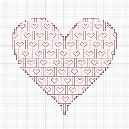 Free Blackwork Valentine's Heart Pattern.
