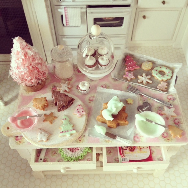 """""""Have yourself a mini Christmas"""" baking table 1:12 scale dollhouse miniature by Kim Saulter"""