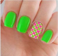 Lime green and pink nails