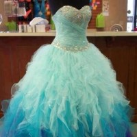 Big blue poofy prom dress