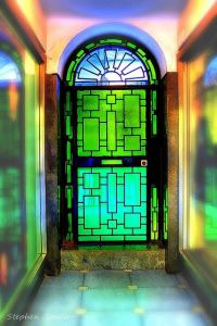 Green Glass Door