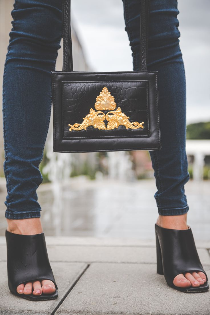 Zara mules paired with a baroque style thrifted handbag
