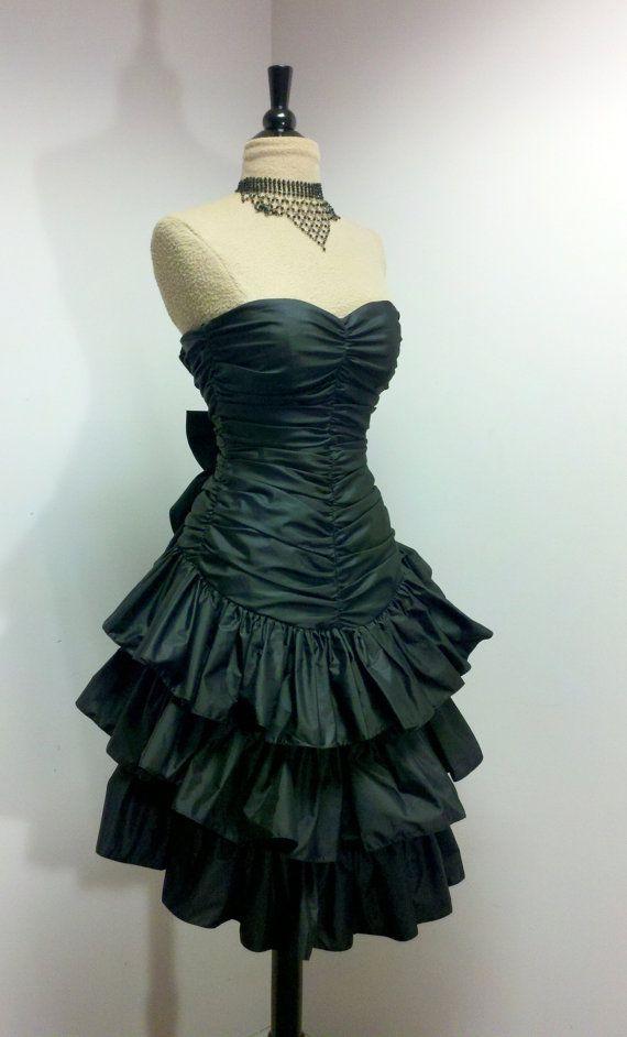 Vintage 1980s Prom Dress  80s Black Party Dress  Black Cocktail Dress  XXS
