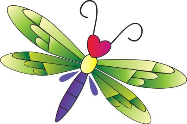 heart dragonfly clipart and vector