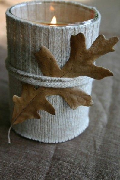 Such a charmingly sweet, chicly rustic knit-wrapped candle with a real leaf. #leaves #candle #autumn #fall #winter #Thanksgiving #candle_holder