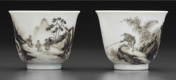 A rare pair ofgrisaille-decorated wine cups, Yongzheng six-character marks in underglaze blue within double circles and of the period (1723-1735)