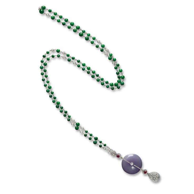 Lavender Jadeite, Jadeite, Ruby and Diamond Necklace | Lot | Sotheby's