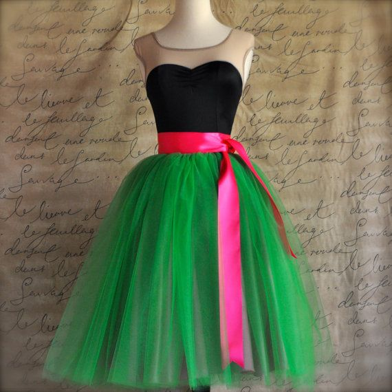 Kelly green and raspberry pink  tutu skirt by TutusChicBoutique, $185.00