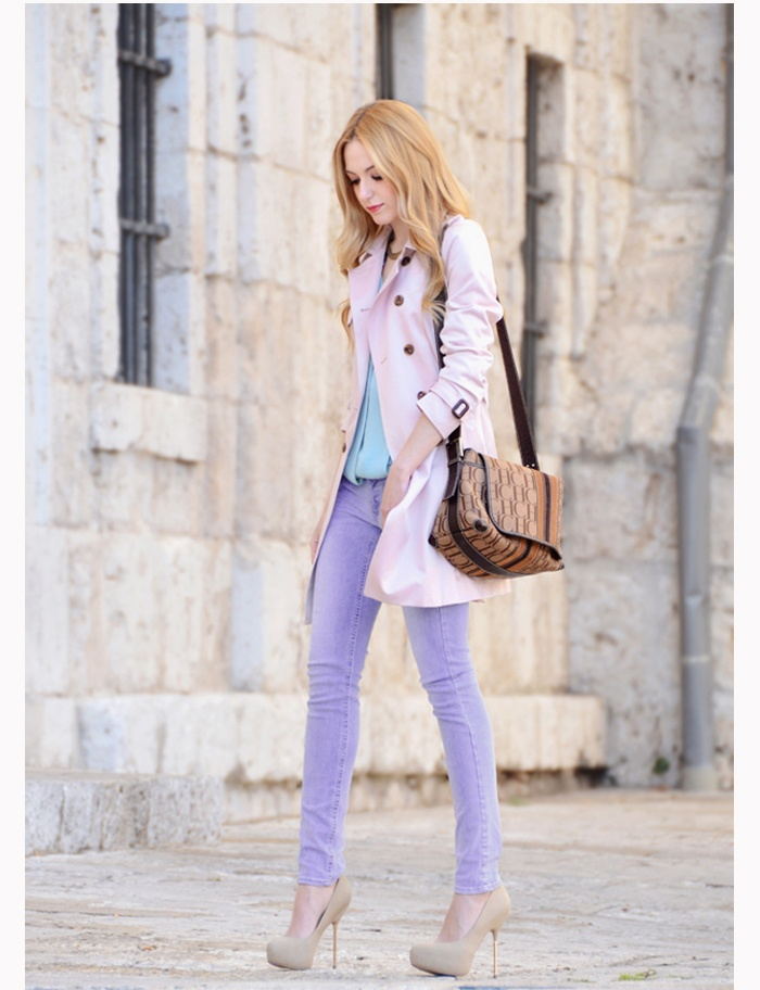 pink Trench Coat and lilac jeans and baby blue top. pastel love! <3