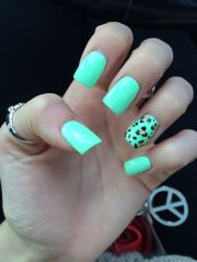 leopard and tiffany blue nails