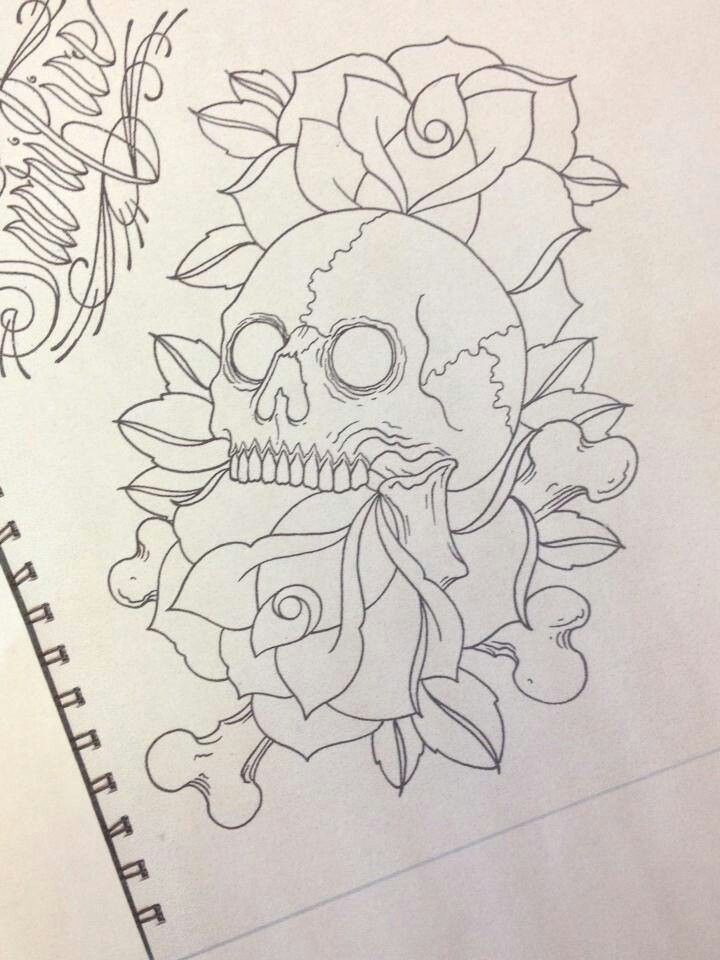 Skull Rose Tattoos Flash Outline Oldskulllovebymw