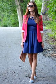 Hot pink blazer with blue dress