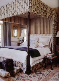 Canopy bed, fabric, rug - Michael Smith | Bedrooms | Pinterest