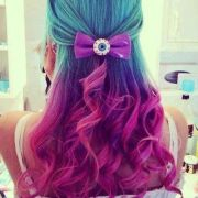 colorful aqua purple pink hair
