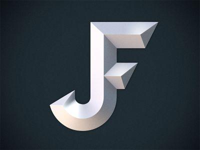 JF Monogram Typography Pinterest