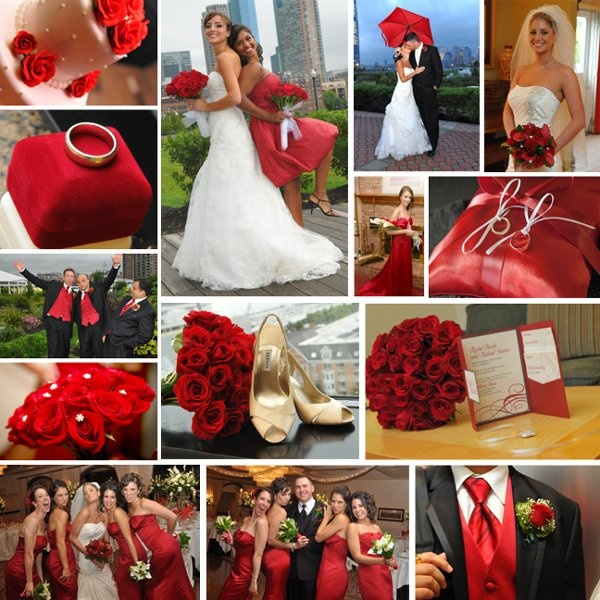Red Bouquet Invitations Menu Cards Updo Winter Wedding Flowers Photos & Pictures - WeddingWire.com