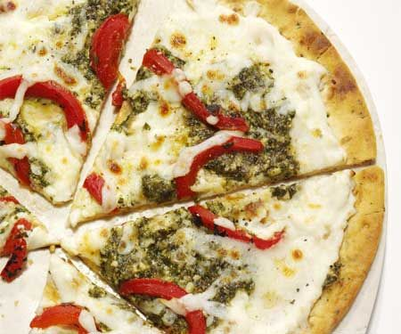 Roasted Red Pepper Pesto Pizza-- super easy