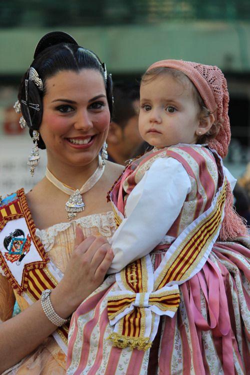 """""""Falleras"""" Females in typical attire during the Las Fallas Festival in Valencia, Spain in March."""