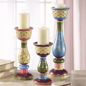 Candle Holders - ideas for hand painting wooden candle holders