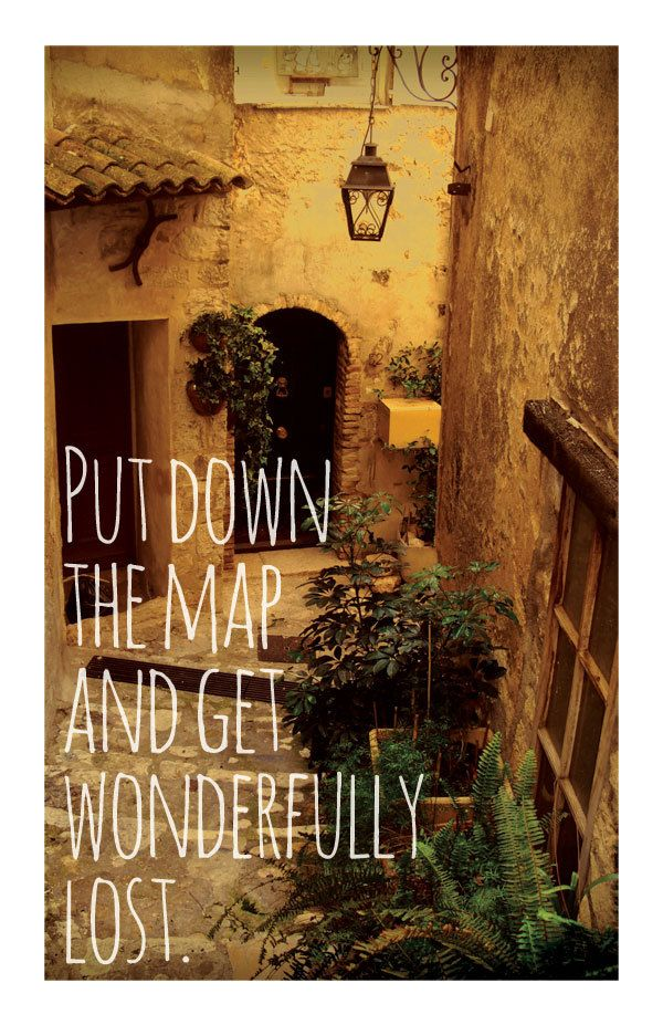 Travel Quotes ('Put down the map and get wonderfully lost.') - A3 Art Print. $19.00, via Etsy.