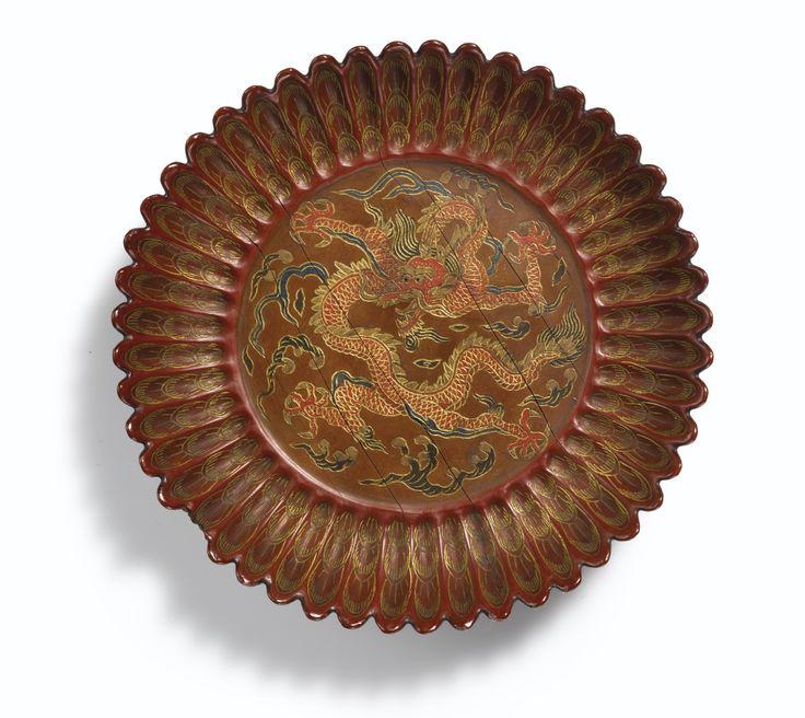 A 'Qiangjin' and 'Tianqi' lacquer chrysanthemum-shaped 'Dragon' dish, Mark and period of Jiajing