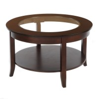 Bianco Collection Espresso 30-inch Round Glass Top Coffee ...
