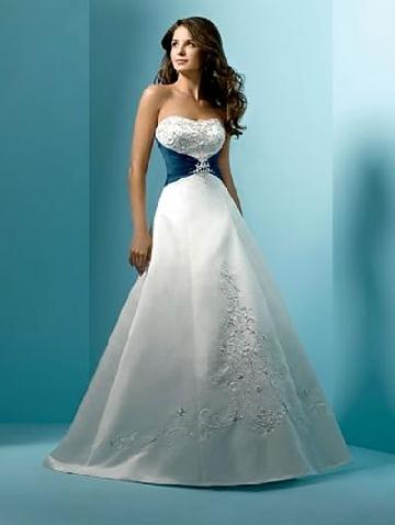 white and blue wedding dresses