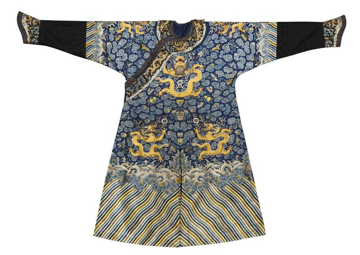 A blue embroidered semi-formal dragon robe (jifu), Qing dynasty, Jiaqing period