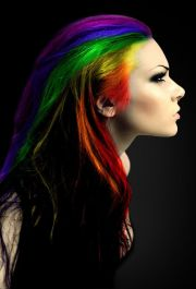 rainbow hair with black