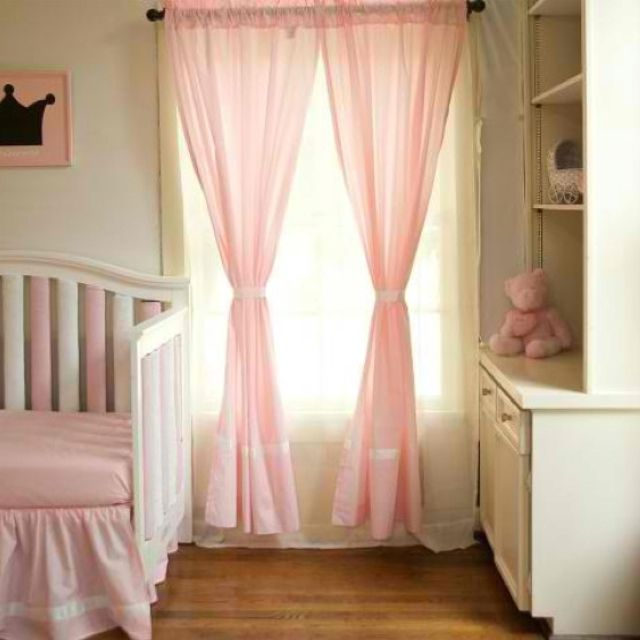 pink curtains for girl nursery