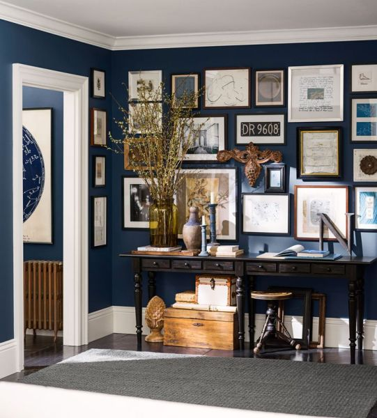 Entry featuring paint color Naval (SW 6244) from the Pottery Barn & Sherwin-Williams Fall/Winter 2013 Color Collection.