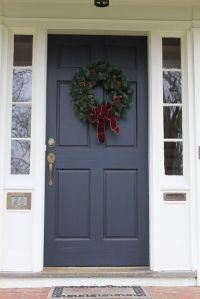Navy front door with white side panels | Front Yard Fixes ...