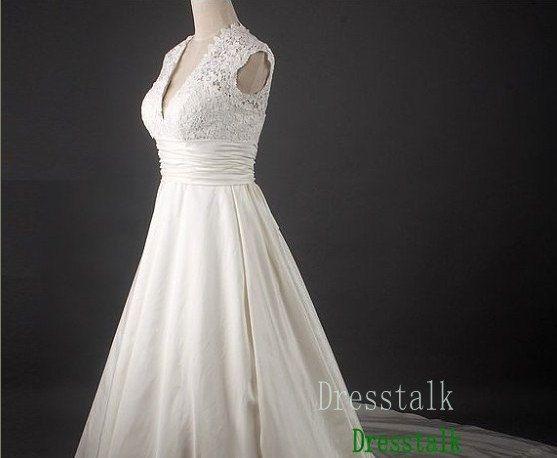 Empire Waist Lace Taffeta Wedding Dress Plus Size By