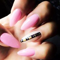 Long pink pointy nails | Nails | Pinterest