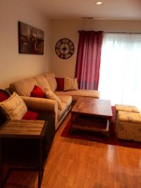 Tan And Red Living Room