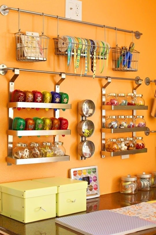 Use the IKEA Grundtal System to Organize Crafts | 52 Totally Feasible Ways To Organize Your Entire Home