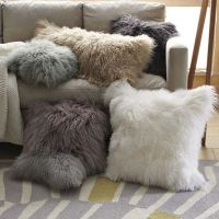 Mongolian Lamb Pillows -West Elm | Teen Spaces | Pinterest