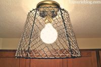 DIY wire basket light fixture | For the Home | Pinterest